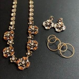 Banana Republic Necklace + Earrings +Free Earrings